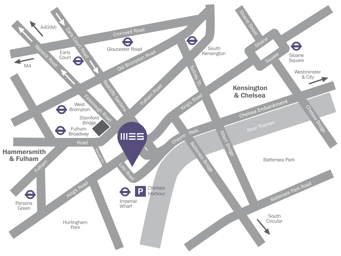 A map showing the location of Worlds End Studios and other points of interest in the Chelsea, Lots Road area.