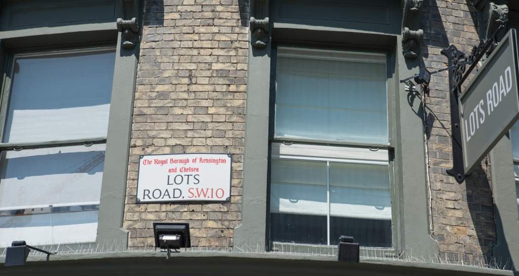 The Lots Road street sign at the end of the street on which Worlds End Studios is located.